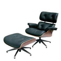 Premier Housewares Swivel Chair and Footstool Leather Charles Eames Style - 84 x 84 x 95 - Black Black Leather Armchair, Leather Footstool, Leather Swivel Chair, Swivel Recliner Chairs, Chair And Ottoman, Bentwood Chairs, Charles Eames, Lounges, Puff
