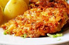Na co nejmenší kostičky nakrájené kuřecí maso, promíchané s nadrobno nasekanými bylinkami a dalšími ingrediencemi, smažené ve tvaru placek v dobře rozpáleném oleji dozlatova.