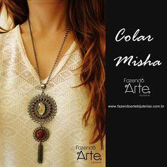 Um colar bem lindo para o final de semana!!!!!  Colar Misha nas cores Marsala e Fumê!!!