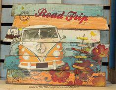 """Arte, Artesania y Manualidades: Tutorial cuadro decorativo con palets """"Furgo…"""
