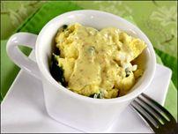 Egg Mug Florentine... Ingredients: 2 eggs... One wedge Laughing Cow ...