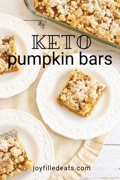 Cool, refreshing fall days are coming soon, and that can only mean one thing...PUMPKIN! Yes, it's time to make these incredible Keto Pumpkin Bars with Crumb Topping. They are one of the most delicious treats you'll ever taste and filled with lots of pumpkin and fall flavors. This low carb pumpkin recipe is also grain-free, sugar-free, gluten-free, Trim Healthy Mama friendly, and has a dairy-free option! Keto Pumpkin Pie, Pumpkin Pie Bars, Pumpkin Dessert, Pumpkin Recipes, Pumpkin Spice, Sugar Free Desserts, Gluten Free Desserts, Keto Desserts, Keto Dessert Easy