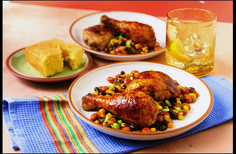 Taco-seasoned #chicken becomes a one-dish meal when served on a bed of corn, green chilies, black beans and pinto beans.