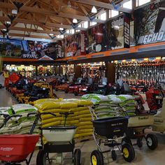 A fall fertilizer allows your lawn to store vital nutrients for the winter and encourages a healthy thriving root system. Garden Center Displays, Diy Greenhouse Plans, Home Depot Store, Store Layout, Tool Store, Lawn Equipment, Showroom Design, Interior Design Business, Metal Shop