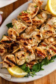 Grilled Marinated Vegetable Kabobs - Spend With Pennies Greek Marinated Chicken, Greek Chicken Recipes, Greek Recipes, Grilled Red Potatoes, Grilled Vegetables, Shawarma, Tzatziki, Souvlaki Pork, Chicken Souvlaki Marinade