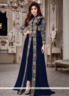 Shop latest and exclusive collection of designer bollywood inspired salwar kameez online. Sophisticated faux georgette embroidered and resham work anarkali salwar kameez for festival, party and wedding. -