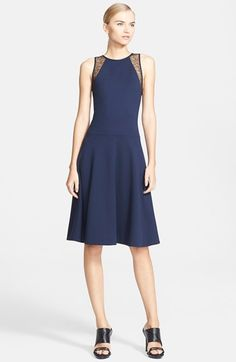 Jason Wu Lace Trim Ponte Knit Fit & Flare Dress available at #Nordstrom