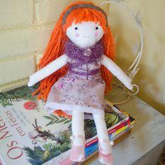 Handmade eco ginger rag doll with by SeedsOfLoveHandmade on Etsy