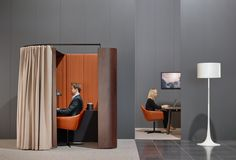 Focus booths are available in a range of intelligent configurations and appealing finishes Office Pods, Walnut Timber, Adjustable Height Table, Sit To Stand, Study Nook, Glass Texture, Booth Design, Sustainable Design, Office Furniture