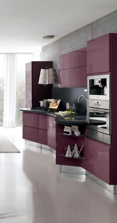 New Modern Kitchen Design with marsala cabinets Purple Kitchen Cabinets, Kitchen Cabinet Design, Modern Kitchen Design, White Cabinets, Modern Cabinets, Modern Design, Farmhouse Cabinets, Oak Cabinets, Kitchen Cabinetry