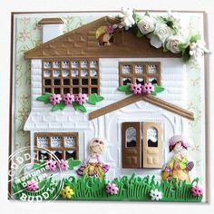 Victorian House CR1218 Marianne Design Craftables Die, Bird and grass LR0204, Bouquet CR1210