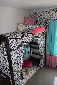 Ole Miss Dorm Room : Black Gold Tiffany Pink Dorm Room | Sorority and Dorm Room Bedding - Dorm Bunked Bed
