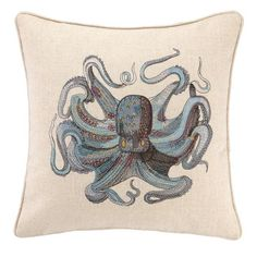 Throw pillow with a down feather fill and embroidered octopus design.   Product: PillowConstruction Material: 100% Lin...