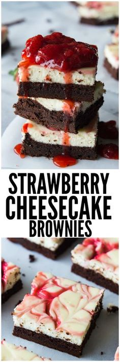 Strawberry Cheesecake Brownies. These homemade brownies are loaded up with a layer of creamy cheesecake then swirled with a sweet strawberry sauce for a pop of color and flavor! Spoon the extra strawberry sauce over the top for an extra special dessert!