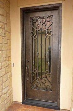 Wrought Iron Doors Windows Gates \u0026 Railings from Cantera Doors & Single Arched Wrought Iron Door with Small Window \u0026 Door Knocker ... Pezcame.Com