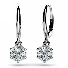 Jewelry Point - 1ct Diamond Solitaire Six Prong Drop Dangle Earrings 18k Gold, $2,950.00 (https://www.jewelrypoint.com/1ct-diamond-solitaire-six-prong-drop-dangle-earrings-18k-gold/)