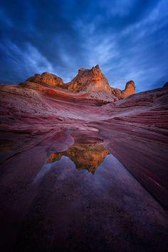Closer by Eddie Lluisma on 500px.... #sky #sunset #water #blue #clouds #rock #utah #arizona #desert #canyon #sandstone #southwest #whitepocket #coconinocounty