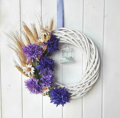 One-of-a-kind cornflower wreath, door summer wreath, summer fireplace decor, made in Italy cornflower blue wreath, Italian summer door decor