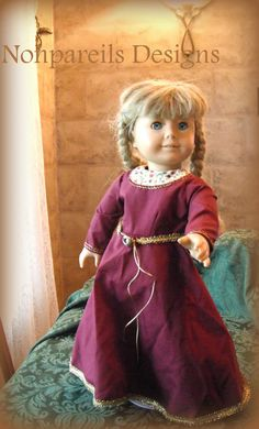 Medieval French Burgundy Dress For 18 inch by NonpareilsDesigns