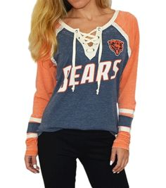 Chicago Bears Wideneck Raglan t-shirt in vintage white and orange