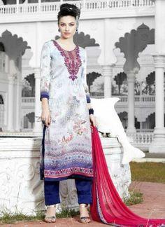 Grey Blue Neck Embroidery Printed Satin Georgette Pakistani Suit  http://www.angelnx.com/Salwar-Kameez