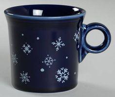 Fiesta® Cobalt Snowflake Ring Handle Mug made by Homer Laughlin China Company | Replacements, Ltd