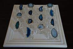 Acrylic and Blue Agate Slice Napkin Rings by DodeandSwanDesigns, $75.00
