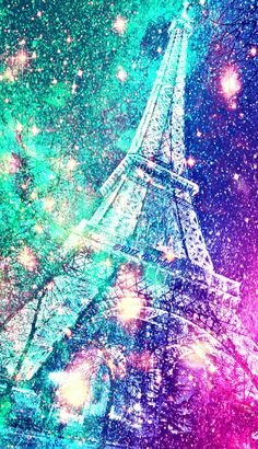Bright Eiffel Tower galaxy sparkle wallpaper I created for the app CocoPPa!