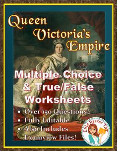 Queen Victoria's Empire Worksheets keep students learning but are fast and easy to grade! More than 150 true/false and multiple choice questions; a separate worksheet for each episode; materials ready for differentiated learning; lots of options; fully editable; Examview files included! #queenvictoriasempire #queenvictoria #imperialism #britishhistory #1800s #industrialrevolution #videohistory #scrambleforafrica #india #industrialization #pbs #disraeli #gladstone #princealbert #crystalpalace Teaching Materials, Teaching Resources, Teaching Ideas, Spanish Exercises, Simple Prints, Multiple Choice, Teacher Hacks, Queen Victoria, School Teacher