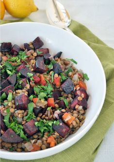 Lentils with Roasted Beets and Lemon - Pulse Pledge