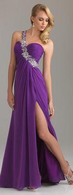 Purple Beaded Chiffon One Shoulder Empire Waist Prom Dress