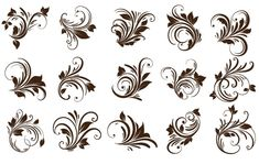 Huge set of 15 different curly floral ornaments with swirling small flower petals, leaves, buds and flowers in various styles on flat white backdrop in brown co Free Vector Graphics, Vector Art, Plant Icon, Outline Art, Heart Hands Drawing, Art Background, Calligraphy Background, Vector Background, Watercolor Rose