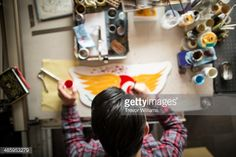 Stock Photo : An artist working with a paint brush