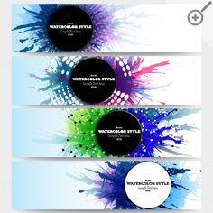 Colorful banners, abstract headers by VectorShop on Creative Market