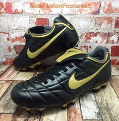 reputable site 74349 e52ad Nike Mens Tiempo Natural Football BOOTS Black gold Sz 9.5 FG Soccer US 10.5  44.5   eBay