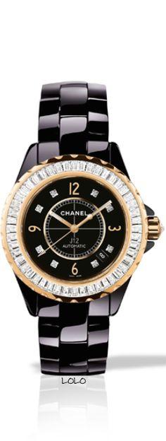 Chanel J12 Black Gem-Set Gold  |  chanel