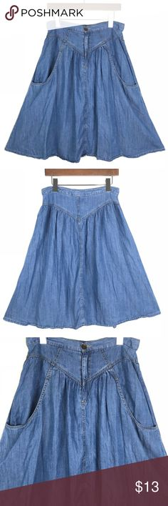 LIFE IN PROGRESS NWOT Circle Denim Skirt Size M New without tags midi knee length circle skirt in dark soft denim wash 🎉Flawless 😍😍 No Trading or Modeling ::233 Forever 21 Skirts Midi