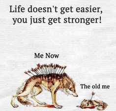 Positive Quotes : Life doesn't get easier you just get stronger. - Hall Of Quotes Wolf Quotes, True Quotes, Motivational Quotes, Inspirational Quotes, Quotable Quotes, Favorite Quotes, Best Quotes, Hindi Quotes, Qoutes
