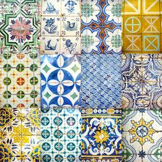 Azulejos de Portugal-I realy like the different patterns & colors together