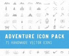 Ad: Adventure Icon Pack by Jackrabbit Creative on 75 handmade vector icons! All icons were drawn by hand and inspired by the spirit of adventure. Comes as both vector .ai and . Business Illustration, Pencil Illustration, Creative Illustration, Business Brochure, Business Card Logo, All Icon, Icon Set, Texture Web, Design Typography