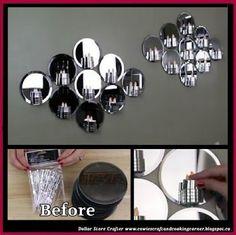 DIY Glam Mirror Candle Holder Wall Art Using Dollar Tree Items http://cowiescraftandcookingcorner.blogspot.ca/2017/08/diy-glam-mirror-candle-holder-wall-art.html #mirrorwallart #crafts #dollarstorecrafts #dollartreecrafts