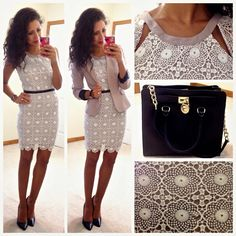 Cute laced  dress,black waste belt and pumps,nude blazer and cute black Michael Kors purse.perfect for a business meeting