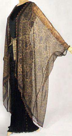 Mariano Fortuny - Couture - Robe et Veste Longue en Voile - Manches Chauve Souris - Années 20