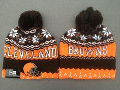 Mens / Womens Cleveland Browns New Era NFL Sports Weather Advisory Cuffed Knit Pom Pom Beanie Cap - Orange / Brown