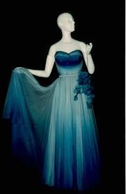 The graduated blue colouring of this Balmain dress from the 1950's is remarkably like nowday's ombre colouring!