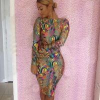 new style 2015 sexy bandage dress bodycon empire waist print club dress long-sleeve women evening party dresses