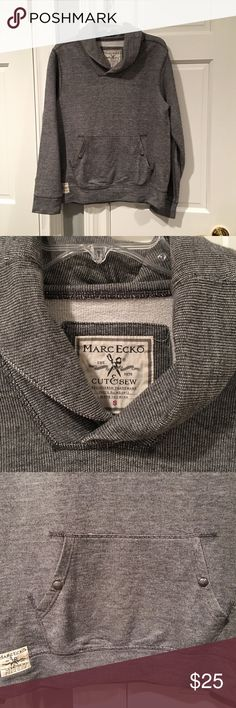 Men's Marc Ecko Shawl Collar Sweatshirt Men's Marc Ecko Shawl Collar Sweatshirt Charcoal Grey and White Texture Size Small Center Pouch Pocket with Snaps 100% Cotton Excellent Condition!! Marc Ecko Shirts Sweatshirts & Hoodies