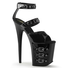 Pleaser FLAMINGO-885 Black Pat Ankle Strap Sandals