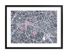 """""""The Map of Paris"""" - Art Print by Four Wet Feet Studio in beautiful frame options and a variety of sizes."""