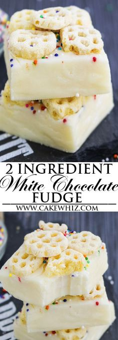 This easy, no bake, 2 ingredient WHITE CHOCOLATE FUDGE recipe requires only condensed milk and white chocolate. It's rich, fudgy, creamy and great as a dessert or homemade gift for the Christmas Holid (Christmas Bake Condensed Milk) Fudge Recipes, Candy Recipes, Sweet Recipes, Dessert Recipes, Yummy Recipes, Baking Recipes, Easy Chocolate Fudge Cake, Homemade Chocolate, Chocolate Candies